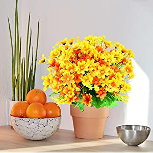 Turelifes 4pcs Artificial Flowers Bouquets Fake Mini Daisy Flower 7 Branches 28 Heads Silk Floral for Office Home Wedding Decoration (Orange) 4