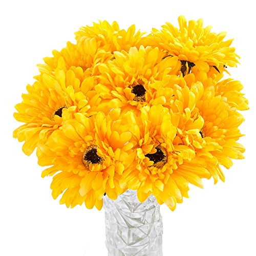 Htmeing 10 pcs Sunbeam Artificial Flower Mum Gerber Daisy Bridal Bouquet Silk Wedding Party Decoration - Single Daisy White