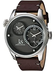 Joshua & Sons Dual Time Zone Silver-Tone Accented Black Dial and Silver-Tone Bezel with Genuine Leather Brown...