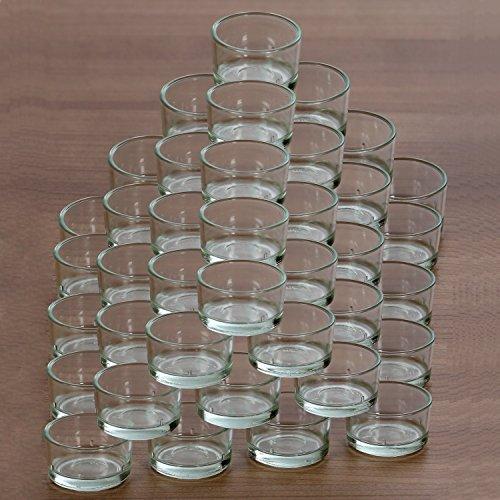 Teelichthalter, Teelichtgläser 40mm - Teelicht Glas Tülle für Standard Teelichtkerzen, Größe:50er Set