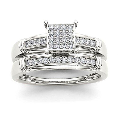 1.52 Ct Round Diamond (14k White Gold 1.52Ct D/VVS Clarity White Round Cut Diamond Engagement,Wedding,Anniversary Ring Set US Sizes 4-13 Available.)