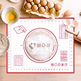 Silicone Pastry Mat Non Stick Baking Mat with Measurement- Fondant Mat, Counter Mat, Dough Rolling Mat, Oven Liner, Pie Crust Mat (20 x 16 Inch)