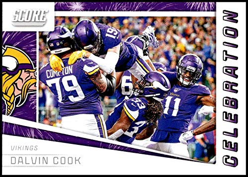 (2019 Score Celebration Football #4 Dalvin Cook Minnesota Vikings Official NFL Trading Card from Panini)