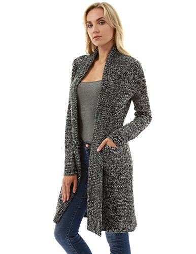 PattyBoutik Women Open Front Pocket Marled Knit Cardigan (Black and Ivory Medium) - Marled Knit Cardigan