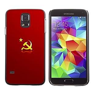 MOBMART Carcasa Funda Case Cover Armor Shell PARA Samsung Galaxy S5 - The Yellow Symbols On Red