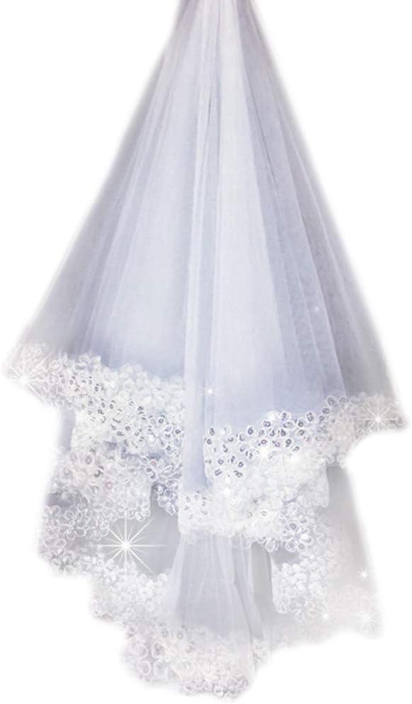 Wei/ß-1 St/ück Haptian Romantische Frauen Hochzeitskleid Bl/ütenbl/ätter Schleier Schichten T/üll Rand Brautschleier