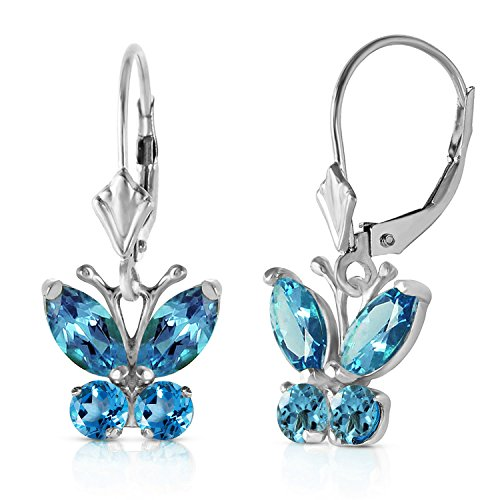 Galaxy Gold 14k Solid White Gold Butterfly Earrings with 1.24 Carat Blue Topaz