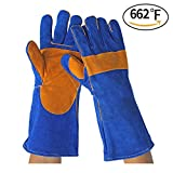 Leather Forge Welding Gloves Heat/Fire Resistant, Mitts for Oven/Grill/Fireplace/16 inches Welding Gloves Heat/Fire Resistant, Reinforcements Seamless Forefinger, Extra Long Sleeve