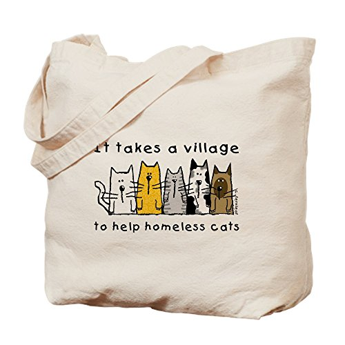 CafePress - Takes A Village, Feral Cats - Natural Canvas Tote Bag, Cloth Shopping Bag (Rescue Feral Cat)