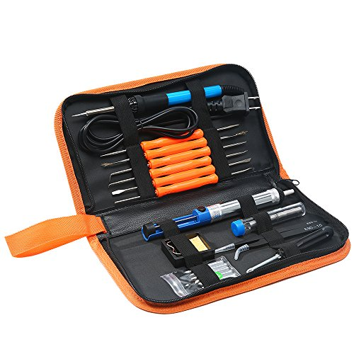 Ranipobo Soldering Iron Kit Electronics, 60W 110V Adjustable Temperature Welding Tool with 5pcs Tips, Desoldering Pump, Anti-static Tweezers, Tin Wire Tube, Stand and 6pcs Aid Tools in PU Carry Bag