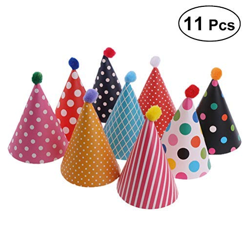 NUOLUX 11pcs Party Hats Lovely Cake Cone Birthday Paper Hats with Pom Poms (Birthday Paper Hat)