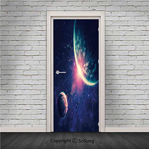 Galaxy Door Wall Mural Wallpaper Stickers,Outer Space Theme Planet Earth Mars in Space Discovery of Universe Astronomy Art,Vinyl Removable 3D Decals 30.4x78.7/2 Pieces set,for Home Decor Navy Blue Pin