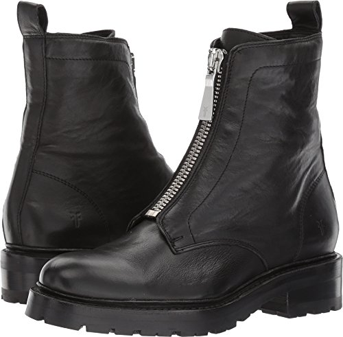 - FRYE Women's Julie Front Zip Combat Boot, Black Polished Soft Full Grain, 8.5 M US