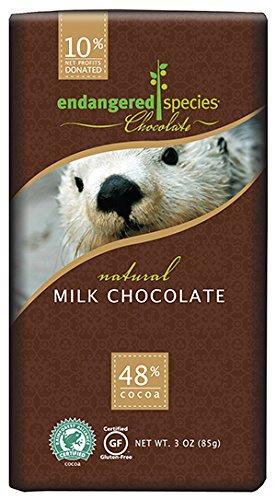 Dark Milk Chocolate Bar - Endangered Species Otter Milk Chocolate, 3 Ounce (Pack of 12)