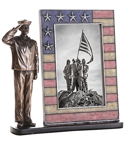 US Navy Cast Bronze Navy Sailor Salute Stars and Stripes Honoring America's Finest Desktop Sculptural Photo Frame