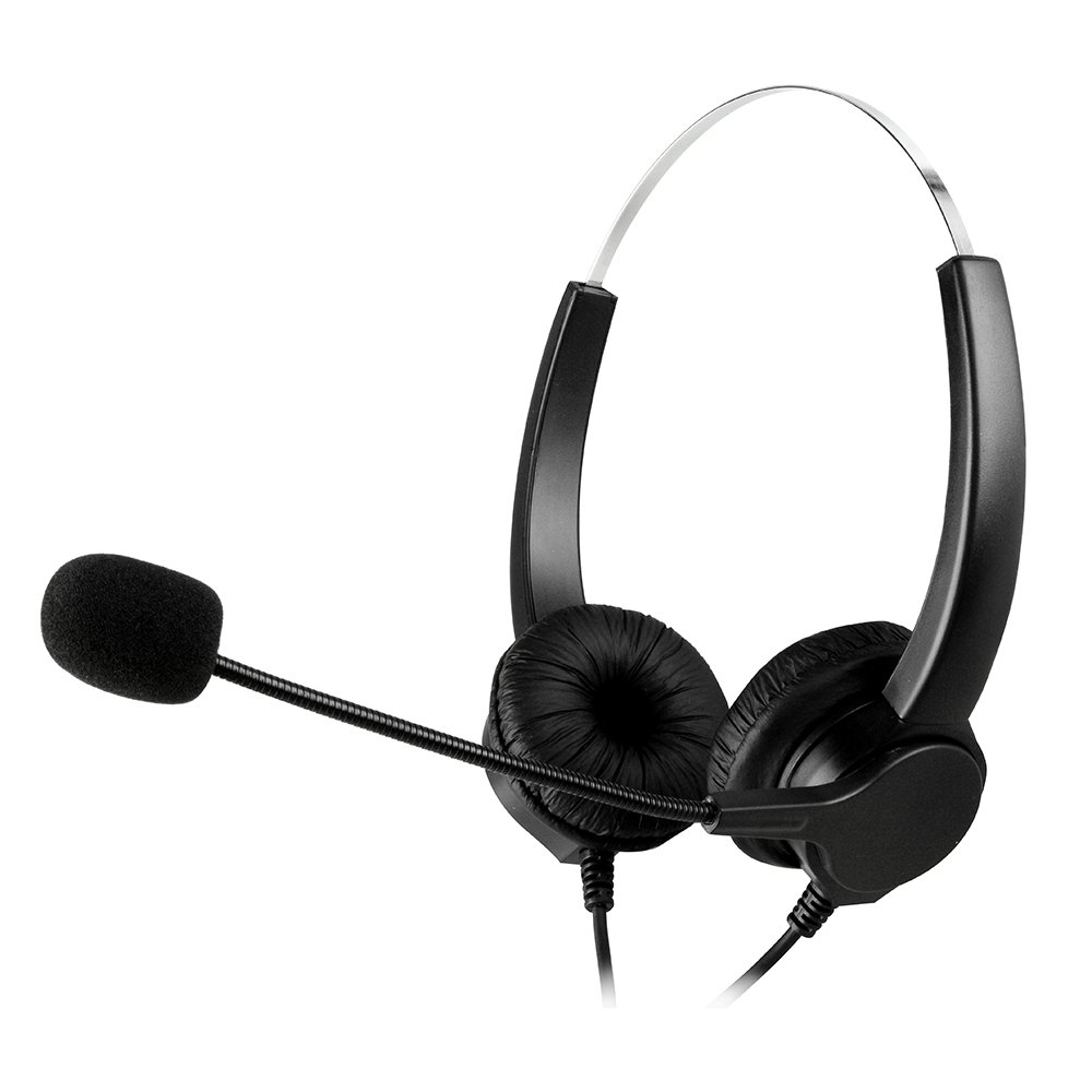 AGPtEK® USB Stereo Binaural Headset Corded Call Center Headphone with Noise-Canceling Mic and Volume Control - For Phone Sales, Telephone Counseling Services, Insurance, Hospitals, Banks, Telecom operators, Enterprises