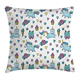 ice cream bar couch - Ambesonne Unicorn Cat Throw Pillow Cushion Cover, Girls Pattern with Hearts Stars Flowers Ice Cream Funny, Decorative Square Accent Pillow Case, 16