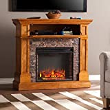 Southern Enterprises Rosedale Faux Stone Fireplace TV Stand in Sienna
