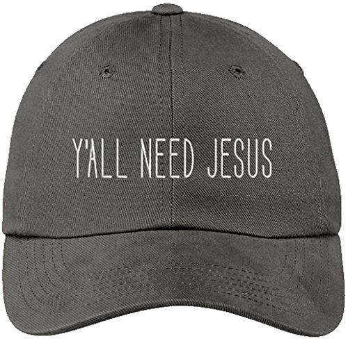 Sports Accessory Store Ya'll Need Jesus Funny Gray Baseball Cap Hat Adjustable Unisex Friend Mom -