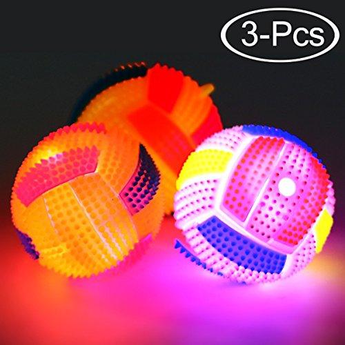 Legendog Dog Ball, 3 Pcs Squeaky Balls, Glowing Elastic Inte
