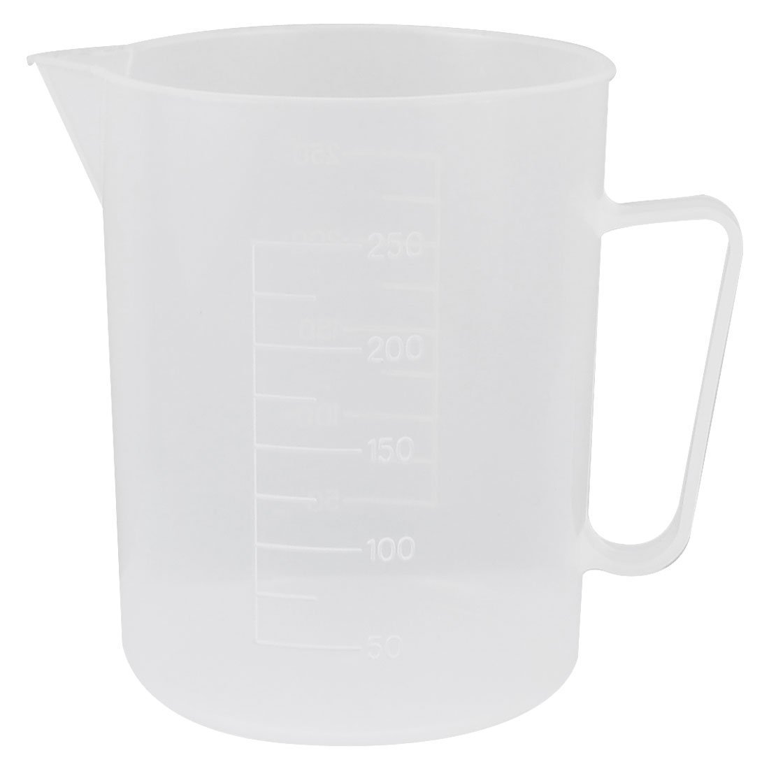 Sourcingmap Laboratory 250mL Capacity Clear White Plastic Measuring Cup a13042200ux0051