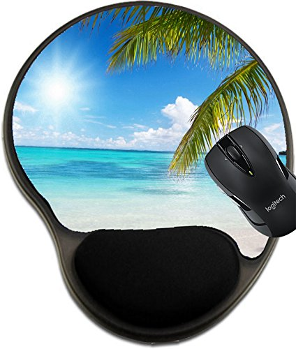 MSD Natural Rubber Mousepad Wrist Protected Mouse Pads/Mat with Wrist Support Design: 5965476 Ocean and Coconut Palms