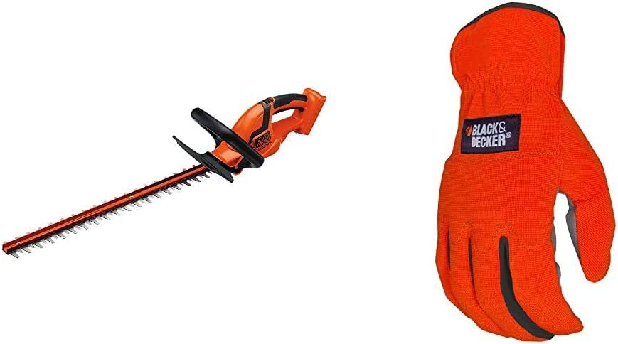 BLACK+DECKER 36V MAX Cordless Hedge Trimmer, 24-Inch, Tool Only with Easy-Fit All Purpose Glove (LHT2436B & BD505L)