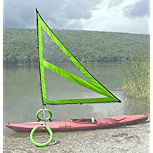 Harmony Upwind Kayak Sail and Canoe Sail Kit (Green). Complete with Telescoping Mast, Boom, Outriggers, All Rigging Included! Compact, Portable, Easy to Set up - Start Sailing This Season!