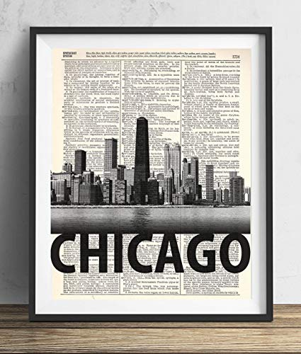Bold Art - Chicago Skyline With Bold Name Dictionary Art Print 8x10