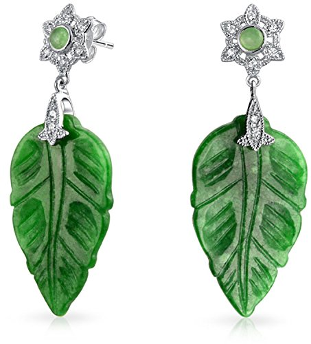 Vintage Style CZ Accent Carved Dyed Green Jade Leaf Earrings For Women 925 Sterling - Green Earring Charming Jade