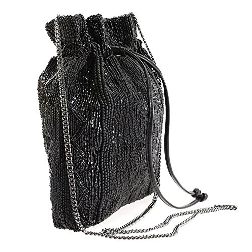 MARY FRANCES Black Out Beaded Solid Pattern Drawstring Crossbody Handbag by Mary Frances (Image #2)