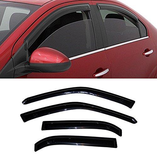VIOJI 4pcs Dark Smoke Outside Mount Style Sun Rain Guard Vent Shade Window Visors Fit 09-13 Toyota Corolla Sedan Only