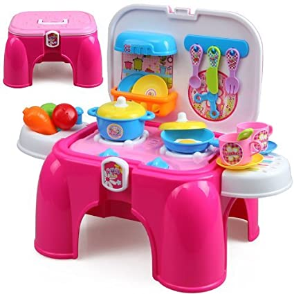 Buy Rvold Pink Toy Kitchen Set For Girls With Stool And Cooking
