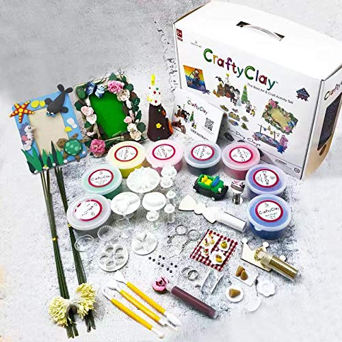 - Crafty Clay Air Dry Modeling Kit for Kids - Soft Sculpting Airdry Multi Colored Clay - 27 x Molding Tools & Accessories - Non Greasy & Self Drying - Complete Art Set for Children with 120 Projects