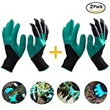 QBEXJ 2 Pairs of Handed Claw Garden Gloves with Fingertips on Right Hand, Laborer Genie Garden Gloves for Digging and Planting