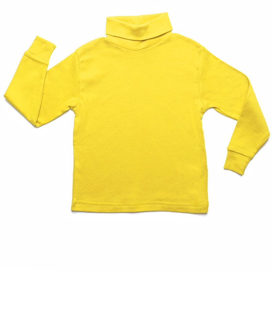 Leveret Solid Turtleneck 100% Cotton (10 Years, Yellow)