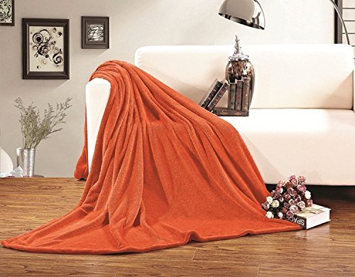 Elegant Comfort Micro-Fleece Ultra Plush Luxury Solid Blanket, King/Cal King, Orange