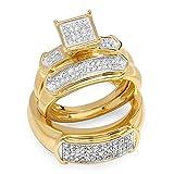0.33 Carat (ctw) 18K Yellow Rhodium Plated Silver White Diamond Men & Women's Trio Bridal Set 1/3 CT
