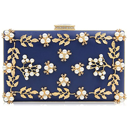 - Milisente Women Clutches Pearls Evening Bag Clutch Purse Bags (Navy Blue)