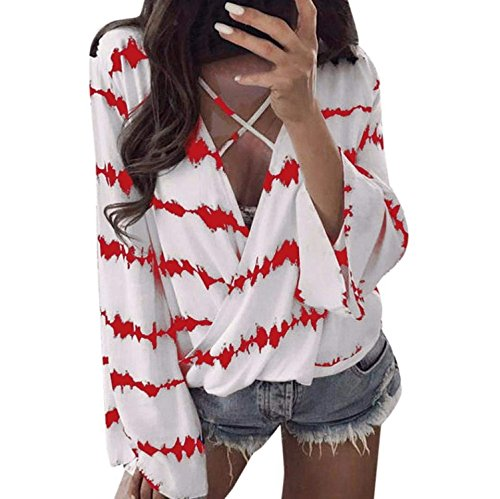 Spinning Tops Sexy V-Neck Long Sleeve Tops Lady Autumn Patchwork Chiffon Loose ()