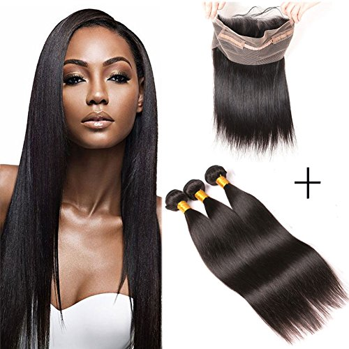 Brazilian Straight Hair Bundles with 360 Frontal Silk Lace Closure Grade 9A Free Part Bleached Knots 3 Bundles Virgin Hair Weaves Mink Hair on Prime16 18 20+14 inches 360 frontal (Friday Sale Black Pre)