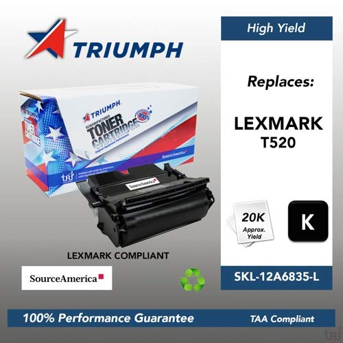 Remanufactured Lexmark T520 Black Toner Cartridge, 20000 Page Yield (12A6835) 12a6835 Remanufactured Toner Cartridge