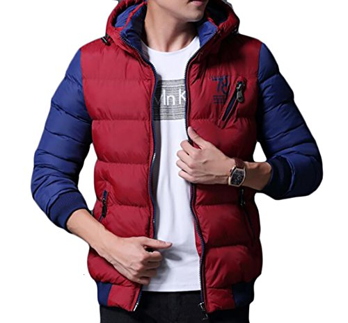 - Zantt Mens Winter Two-Tone Zip-Up Quilted Thicken Down Jackets Coats With Hood Red US S