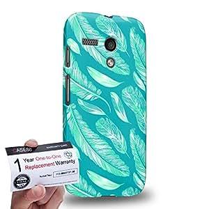 Case88 [Motorola Moto G (1st Gen)] 3D impresa Carcasa/Funda dura para & Tarjeta de garantía - Art Aztec Design Feathers Cyan