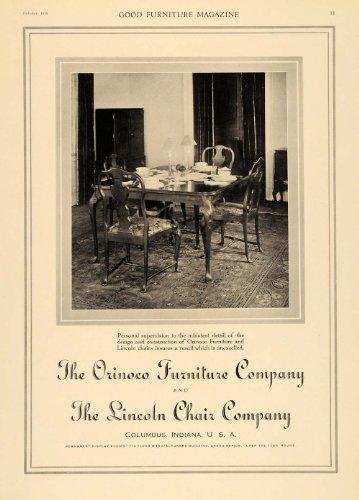 1918 Ad Orinoco Furniture Lincoln Chair Dining Room Set – Original Print Ad