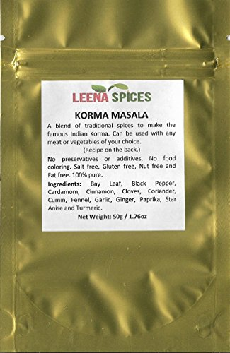 LEENA SPICES - Korma Curry Masala Powder - Gluten Free Quality Seasoning Spice – Tasty Shahi Chicken Recipe Dish From Our Cook Book – Enjoy Pure Taste Of India - No Food Color Or Salt Mix-1.75 ounce