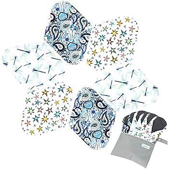 7pcs Set 1 pc Bonus Free Mini Wet Bag +6pcs Absorbent Reusable Sanitary Pads/Washable Bamboo Cloth Menstrual Pads (L,Elegant)