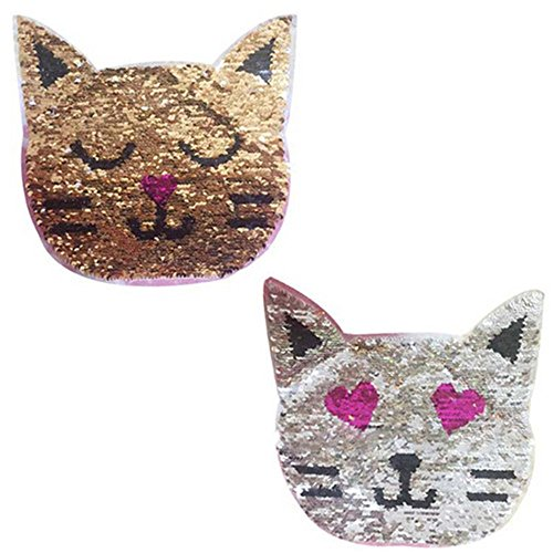 (Toonol Cat Reversible Color Changing Sequins Sewing on Patches Clothes DIY Applique Clothing Jeans Craft)