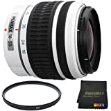 Pentax DA 18-55mm f/3.5-5.6 AL Weather Resistant Lens (White) + 52mm UV Filter + DavisMAX MicroFiber Cloth DavisMAX Bundle