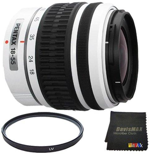 Pentax DA 18-55mm f/3.5-5.6 AL Weather Resistant Lens (White) + 52mm UV Filter + DavisMAX MicroFiber Cloth DavisMAX Bundle